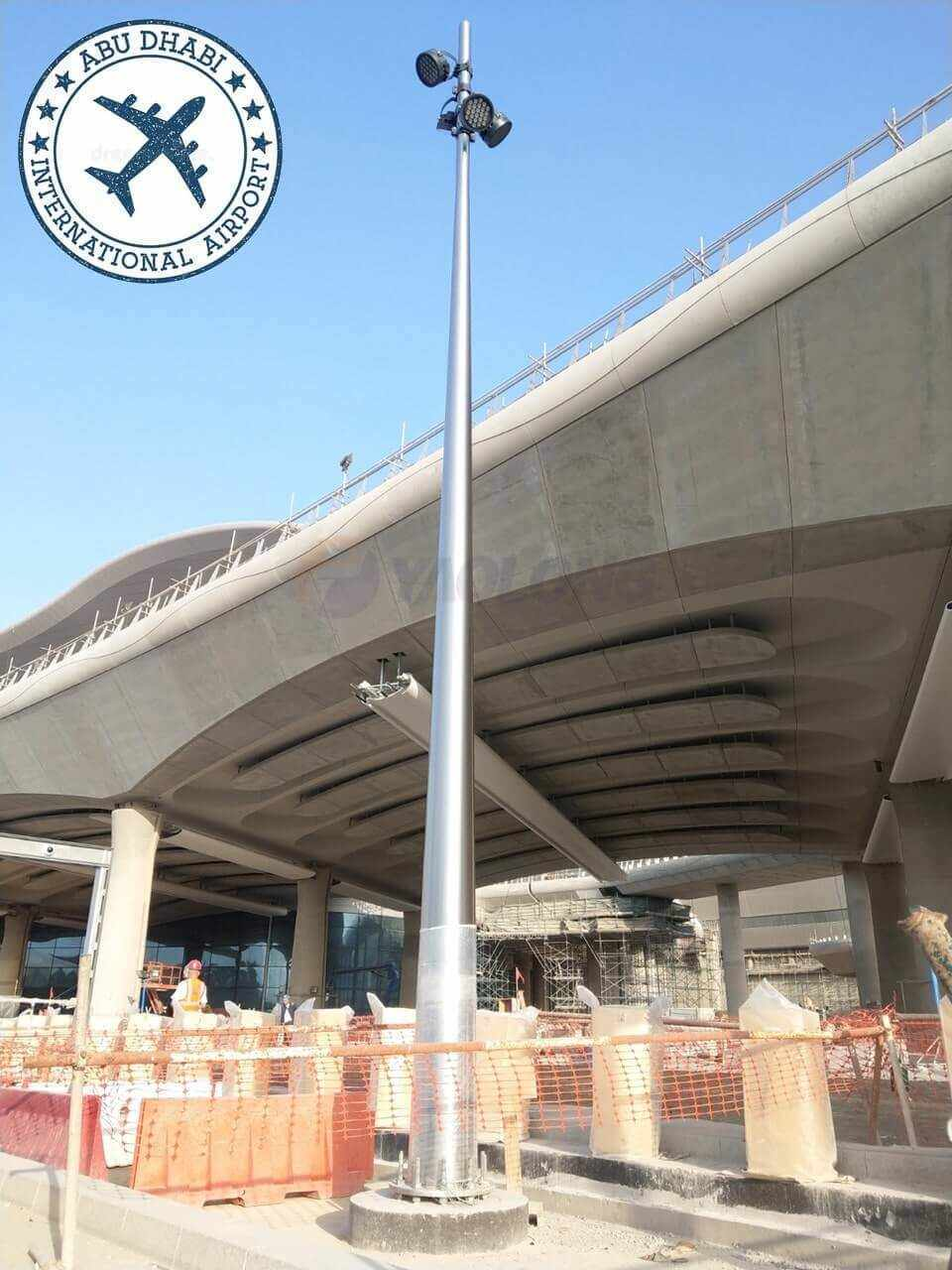 Aluminum light pole supplied to ABU dhabi international airport