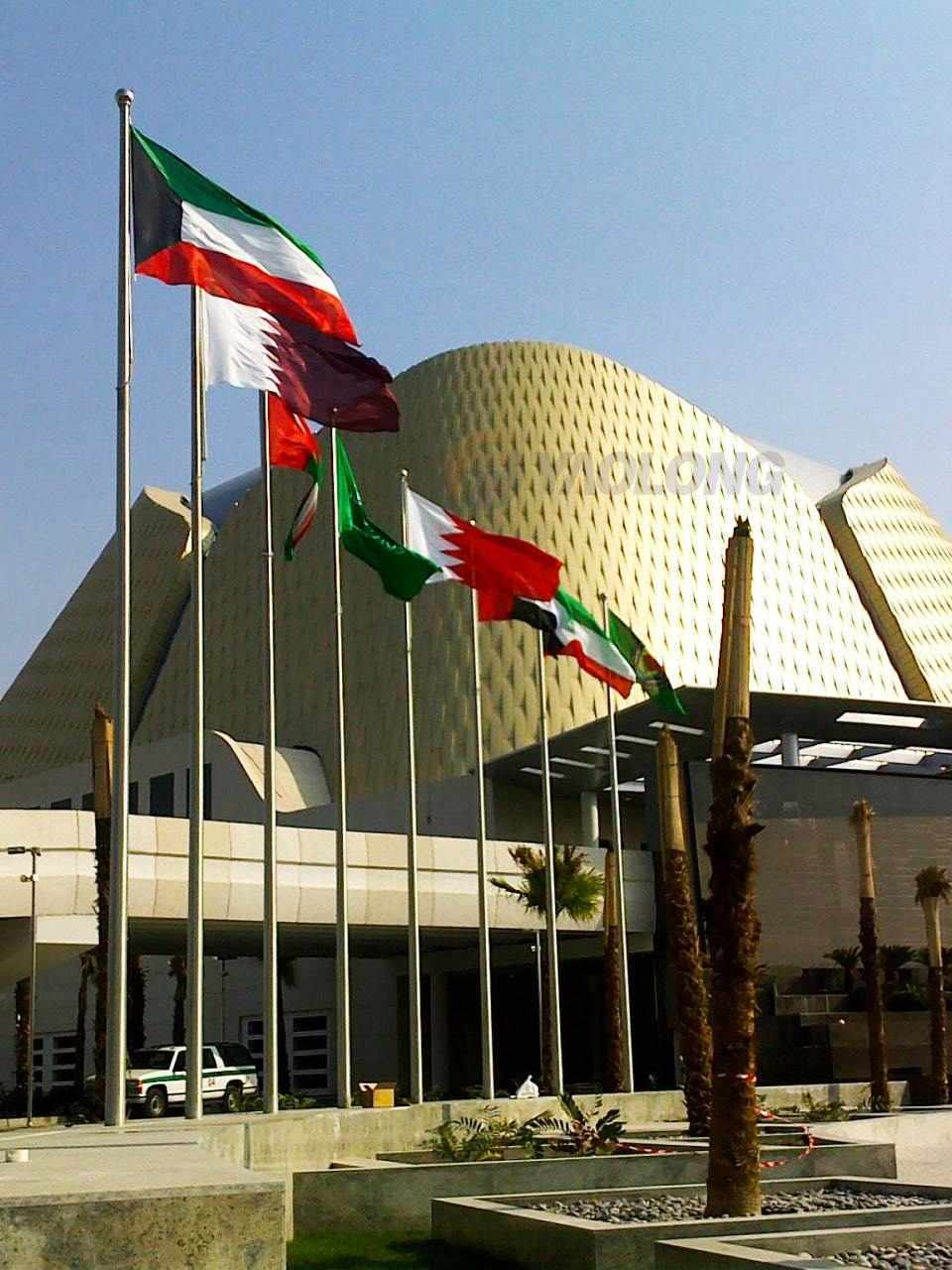 12 meter stainless steel flagpole supplied to Kuwait new international airport