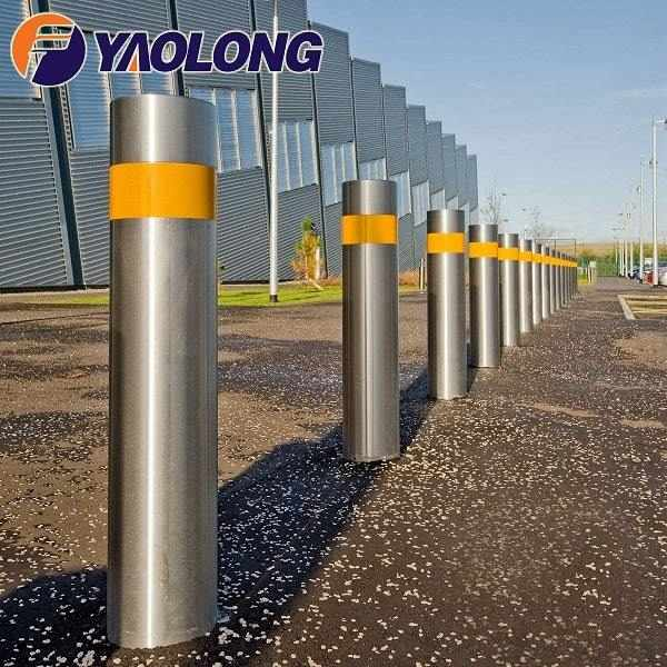 stainless steel reflective fixed bollard