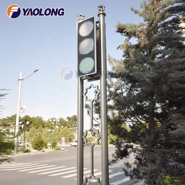 decorative customized stainless steel traffic light pole