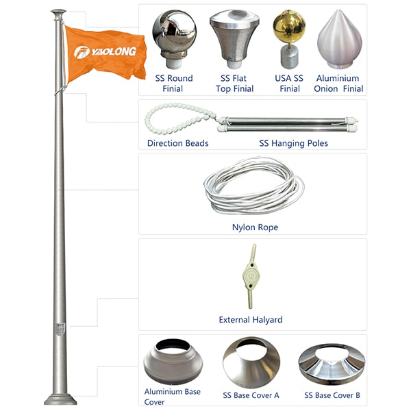 Corrosion Resistant 5.0mm Thickness Aluminium Alloy Spun Flagpole Factory 02