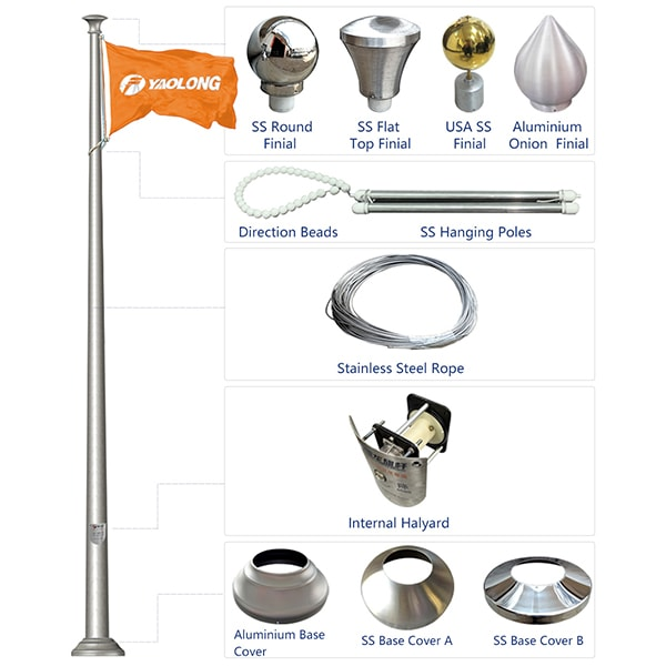 Heat Treated to T-6 Temper Cone Tapered Aluminum Flag Pole Factpry