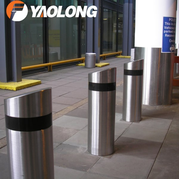 stainless steel mieted top fixed bollard