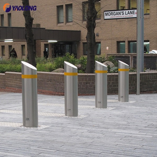 high quality stainless steel mitred top fixed bollard